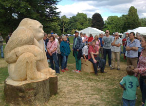 Carving wooden sculptures with chainsaws u woodlands