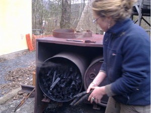 how to make charcoal from human waste