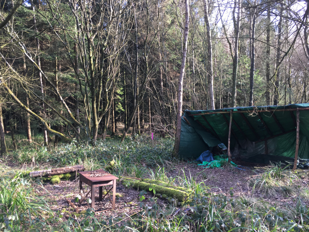 The campfire and shelter