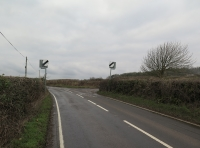 Road from Llethrid showing turning on right.