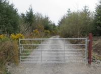 Head up this track towards Coed Hedd. Please call for combination code