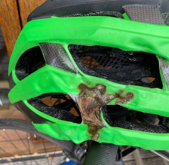 Melted bicycle helmet