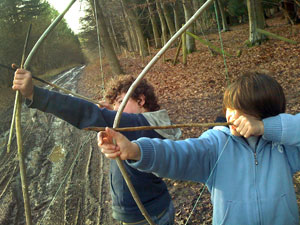 Bows and arrows in woodland - archery at different levels