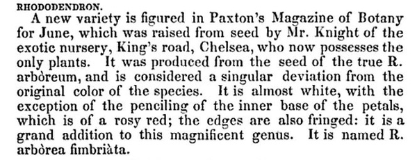 snippet from Magazine of Horticulture, Botany and All Useful Discoveries 1835