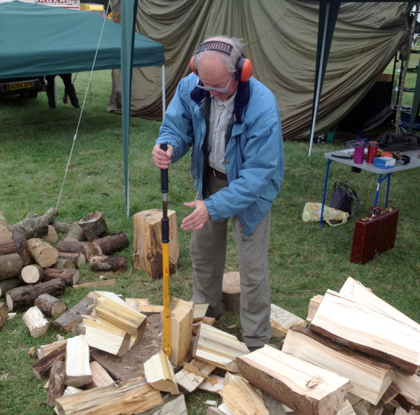 man with log splitter