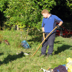 Churchyard Scything with Austrian Scythes - and manual baling