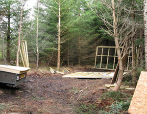 What do woodland owners do about sheds for storage ?