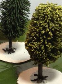 Making model trees and woodlands in tabletop battles.