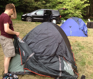 Modern tents and woodland camping